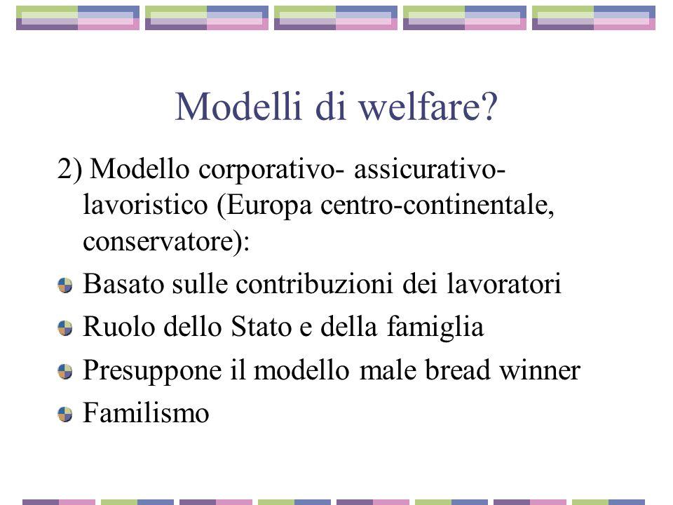 Modelli di welfare 2) Modello corporativo- assicurativo-lavoristico (Europa centro-continentale, conservatore):