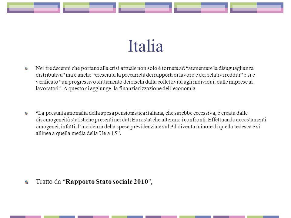 Italia Tratto da Rapporto Stato sociale 2010 ,