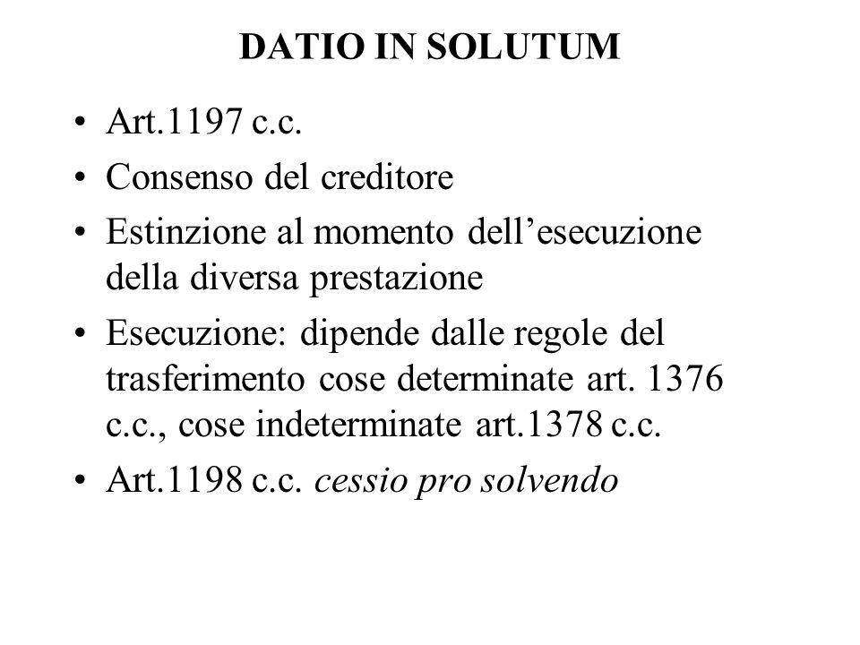 DATIO IN SOLUTUM Art.1197 c.c. Consenso del creditore. Estinzione al momento dell'esecuzione della diversa prestazione.