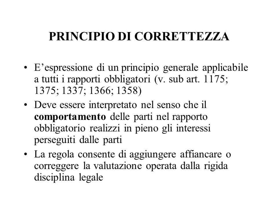 PRINCIPIO DI CORRETTEZZA