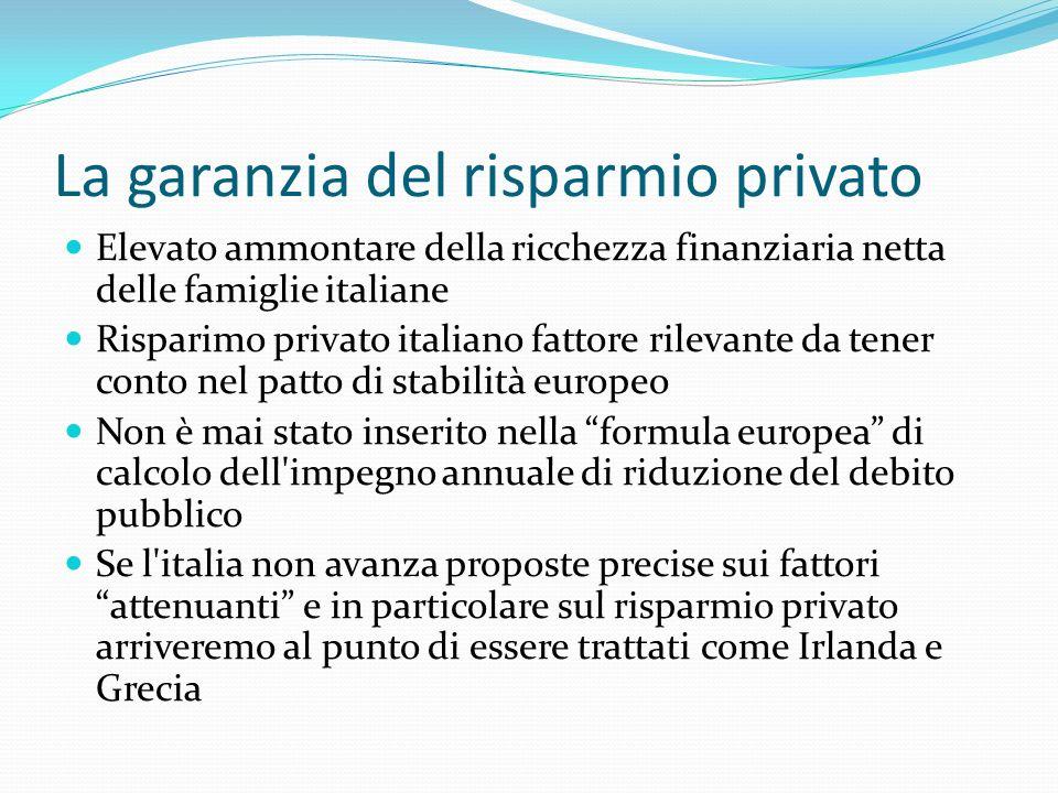 La garanzia del risparmio privato