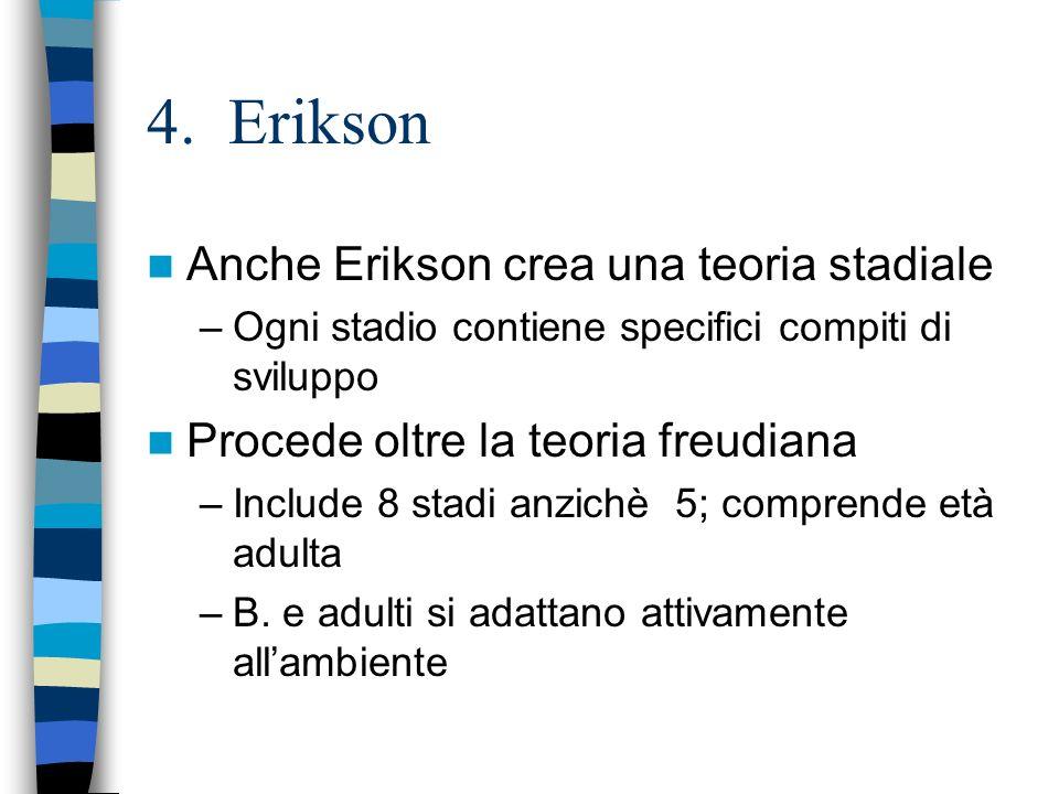 4. Erikson Anche Erikson crea una teoria stadiale