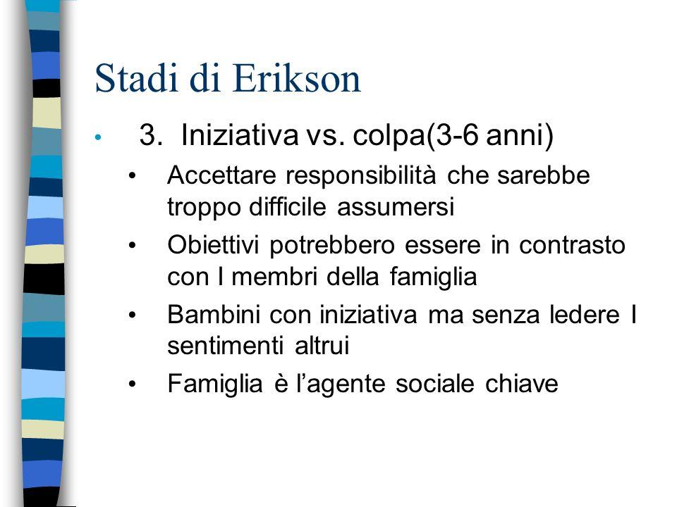 Stadi di Erikson 3. Iniziativa vs. colpa(3-6 anni)