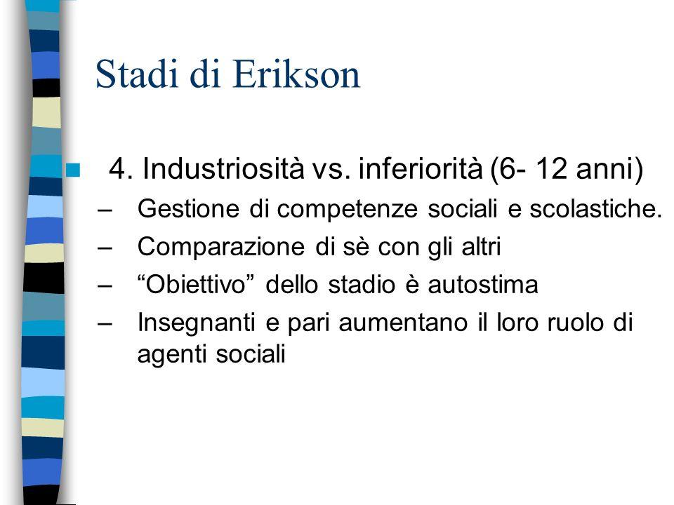 Stadi di Erikson 4. Industriosità vs. inferiorità (6- 12 anni)