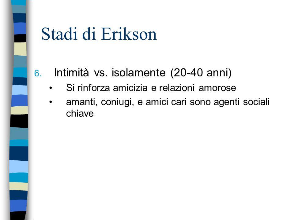 Stadi di Erikson Intimità vs. isolamente (20-40 anni)
