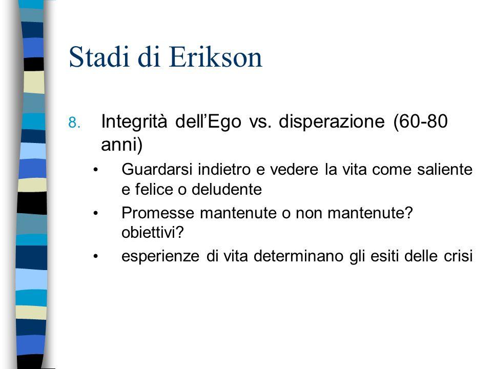 Stadi di Erikson Integrità dell'Ego vs. disperazione (60-80 anni)