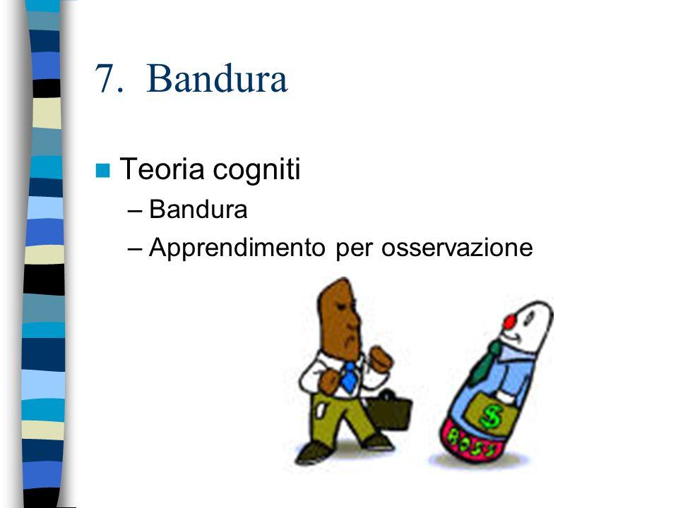 7. Bandura Teoria cogniti Bandura Apprendimento per osservazione