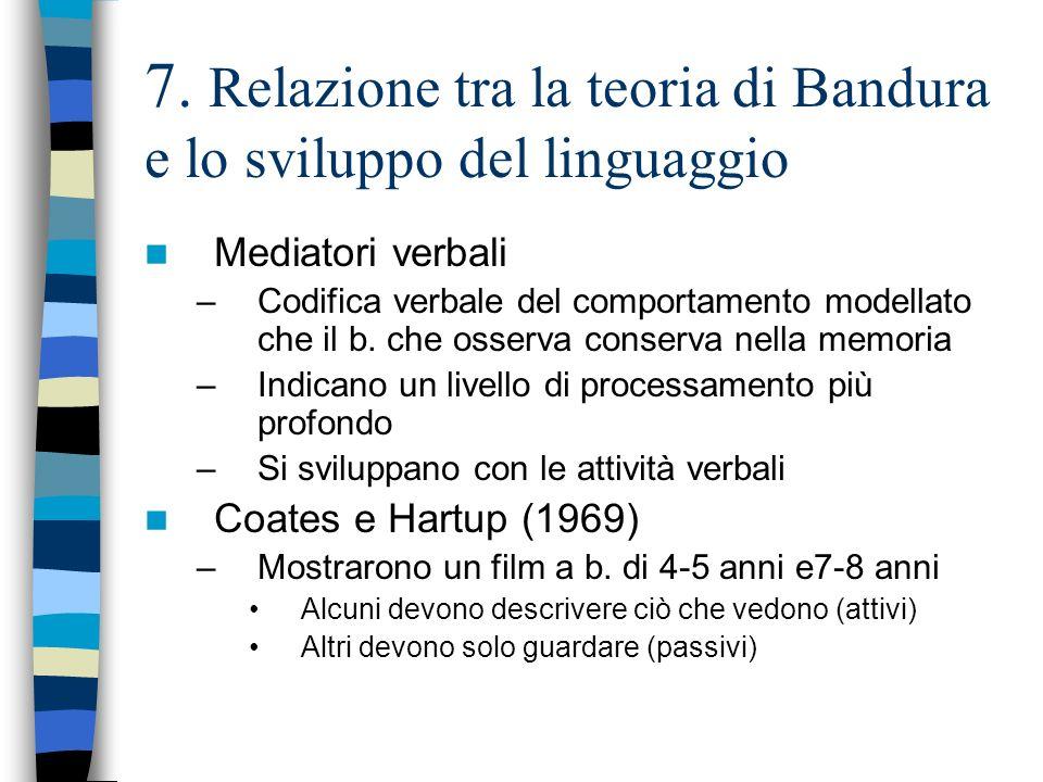 7. Relazione tra la teoria di Bandura e lo sviluppo del linguaggio
