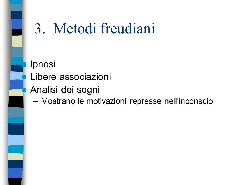 3. Metodi freudiani Ipnosi Libere associazioni Analisi dei sogni