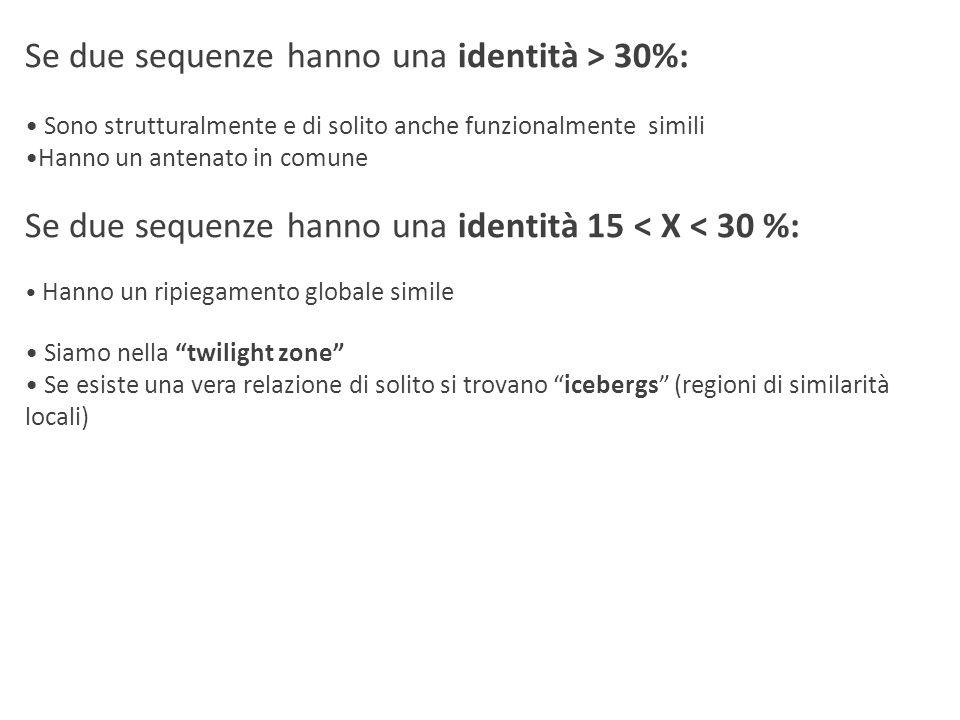 Se due sequenze hanno una identità > 30%:
