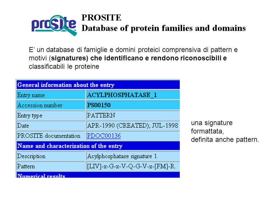 E' un database di famiglie e domini proteici comprensiva di pattern e