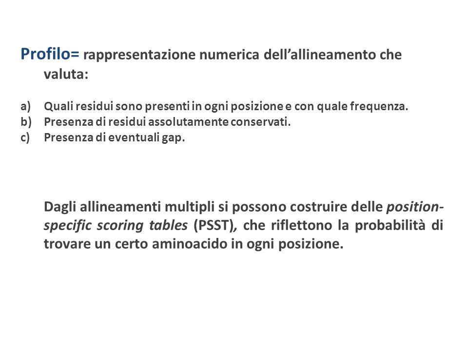 Profilo= rappresentazione numerica dell'allineamento che valuta: