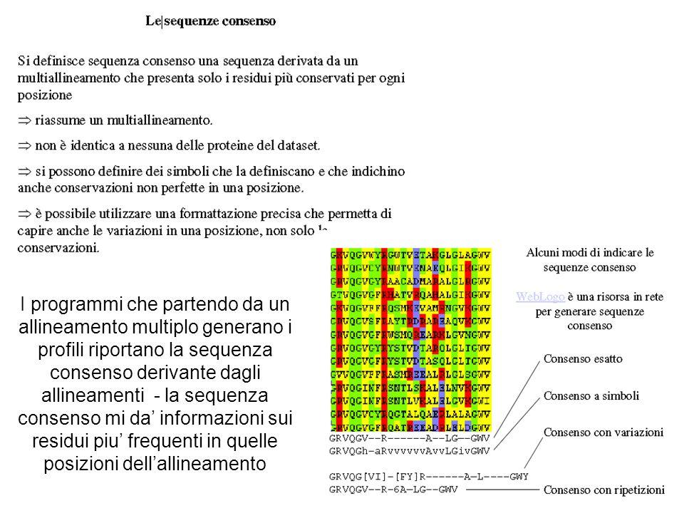 I programmi che partendo da un allineamento multiplo generano i profili riportano la sequenza consenso derivante dagli allineamenti - la sequenza consenso mi da' informazioni sui residui piu' frequenti in quelle posizioni dell'allineamento