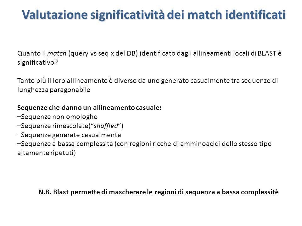 Valutazione significatività dei match identificati