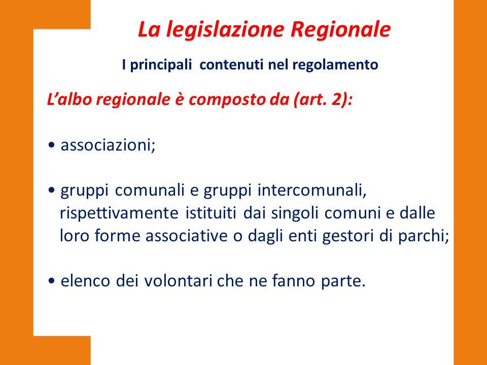 La legislazione Regionale I principali contenuti nel regolamento