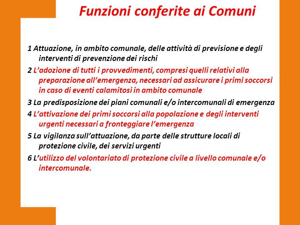 Funzioni conferite ai Comuni