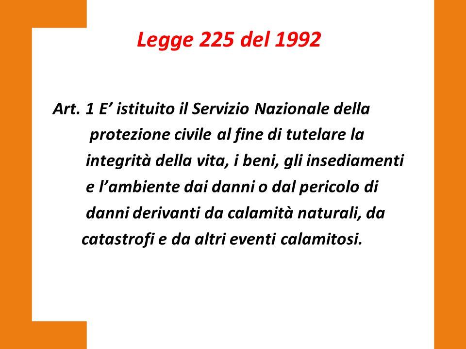 Legge 225 del 1992 Art. 1 E' istituito il Servizio Nazionale della