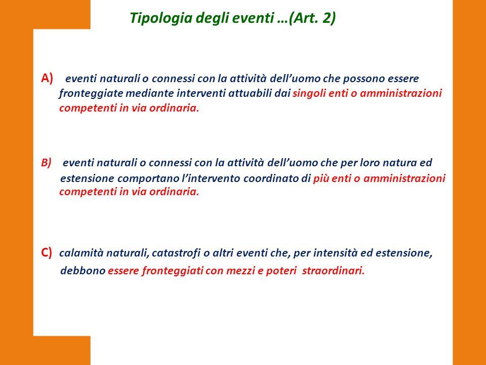 Tipologia degli eventi …(Art. 2)