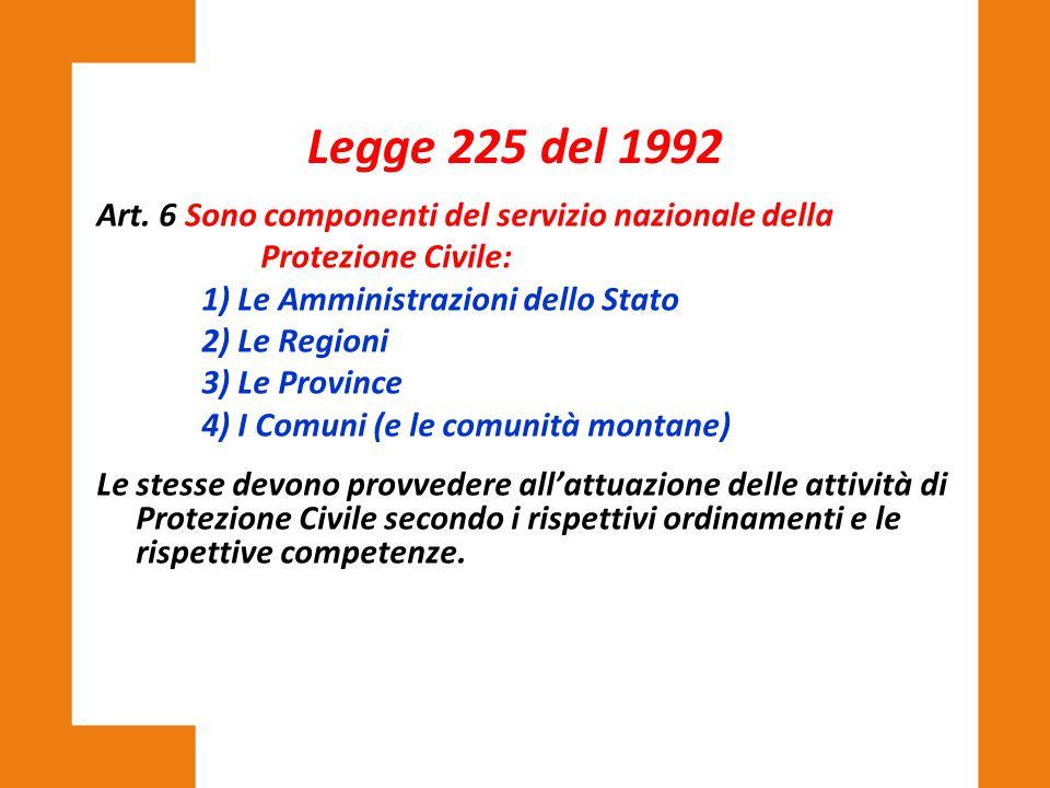 Legge 225 del 1992 Art. 6 Sono componenti del servizio nazionale della