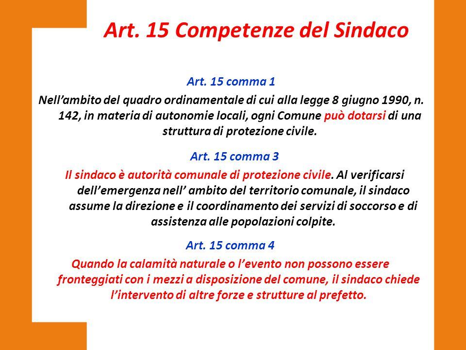 Art. 15 Competenze del Sindaco
