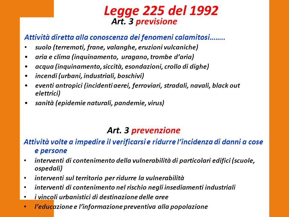 Legge 225 del 1992 Art. 3 previsione Art. 3 prevenzione