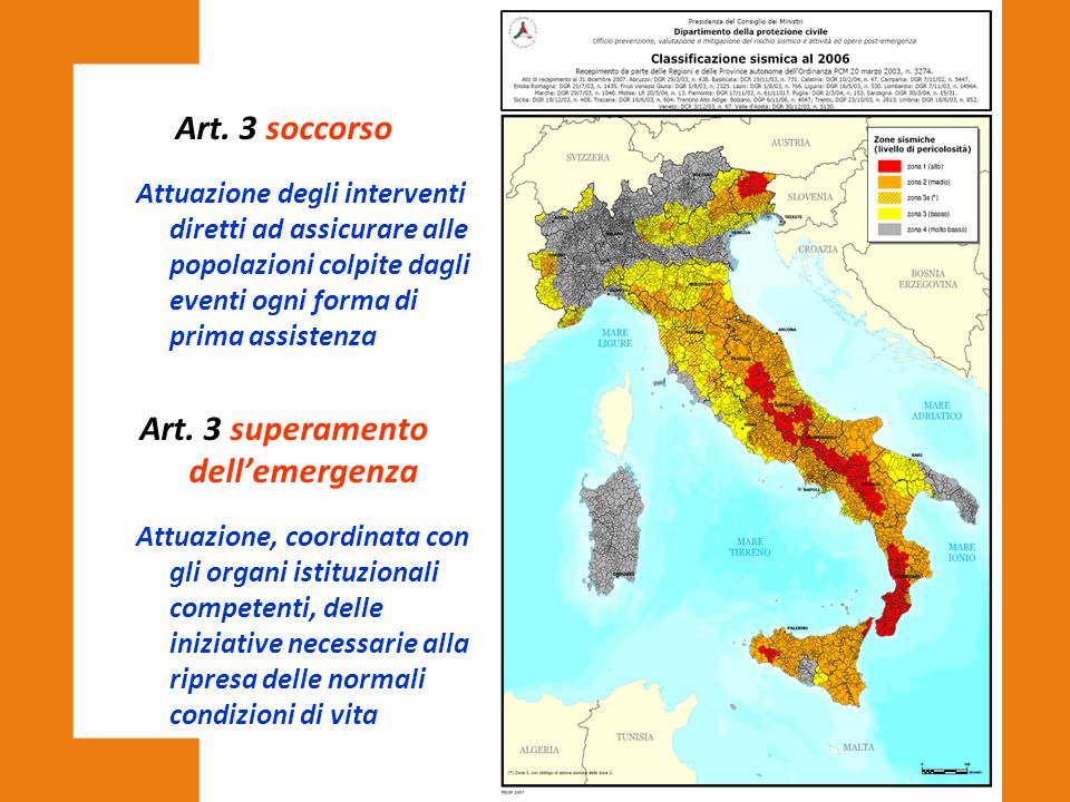 Art. 3 superamento dell'emergenza
