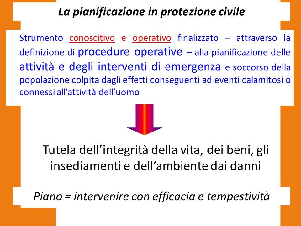 La pianificazione in protezione civile