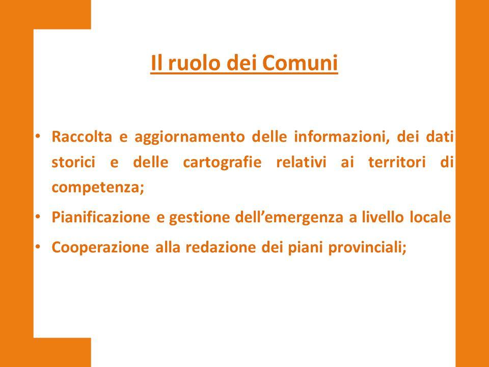 Il ruolo dei Comuni Raccolta e aggiornamento delle informazioni, dei dati storici e delle cartografie relativi ai territori di competenza;