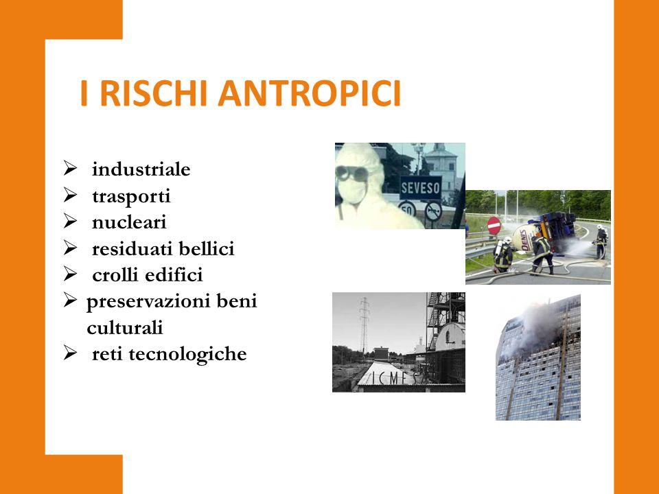 I RISCHI ANTROPICI industriale trasporti nucleari residuati bellici