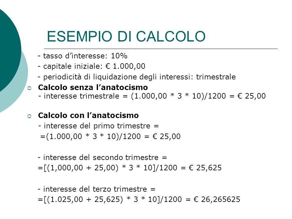ESEMPIO DI CALCOLO - tasso d'interesse: 10%