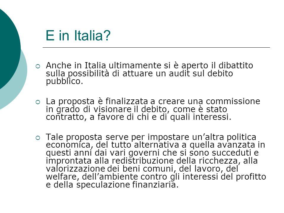 E in Italia Anche in Italia ultimamente si è aperto il dibattito sulla possibilità di attuare un audit sul debito pubblico.