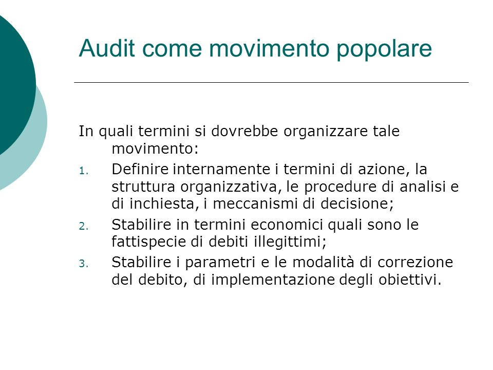 Audit come movimento popolare