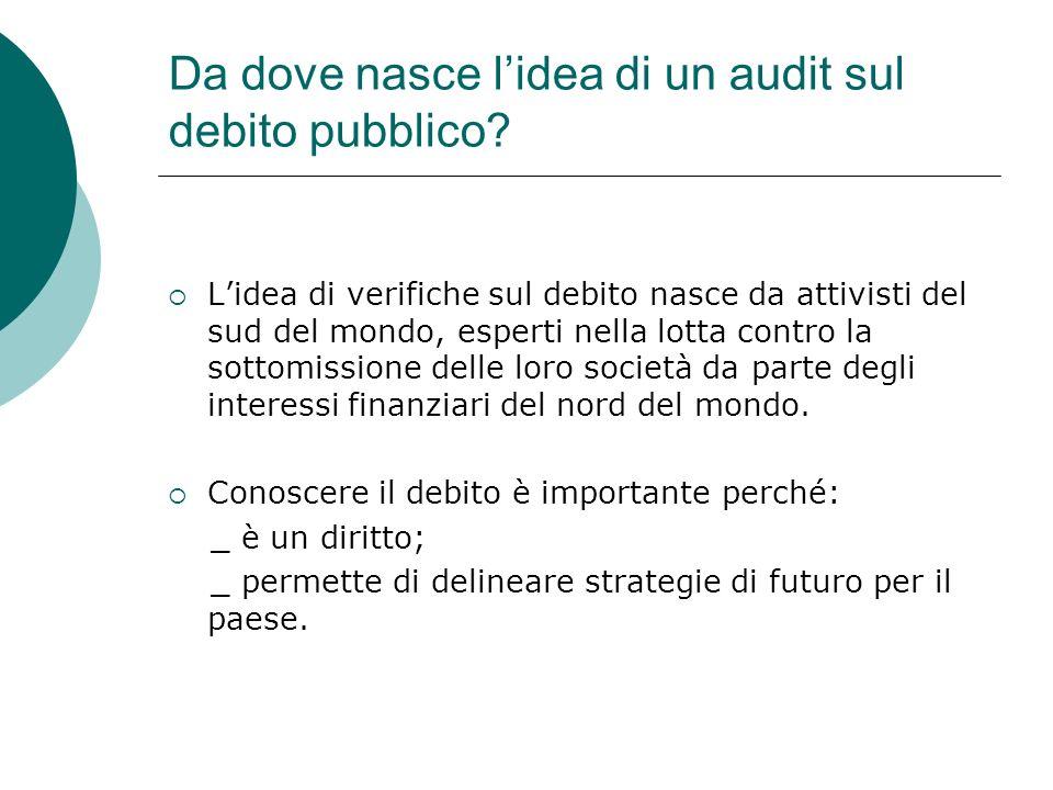 Da dove nasce l'idea di un audit sul debito pubblico
