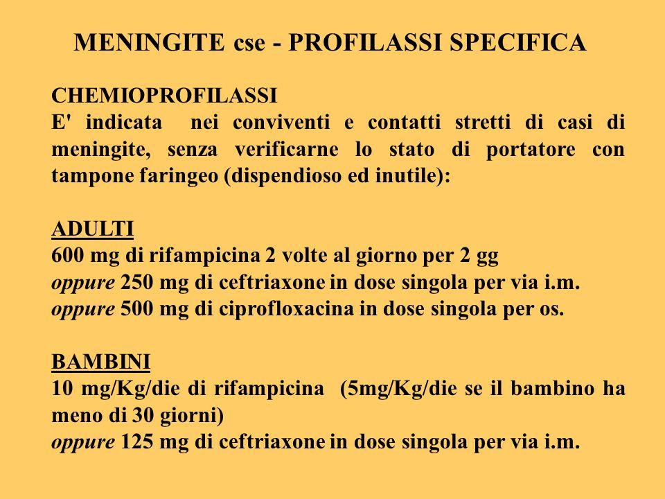 MENINGITE cse - PROFILASSI SPECIFICA
