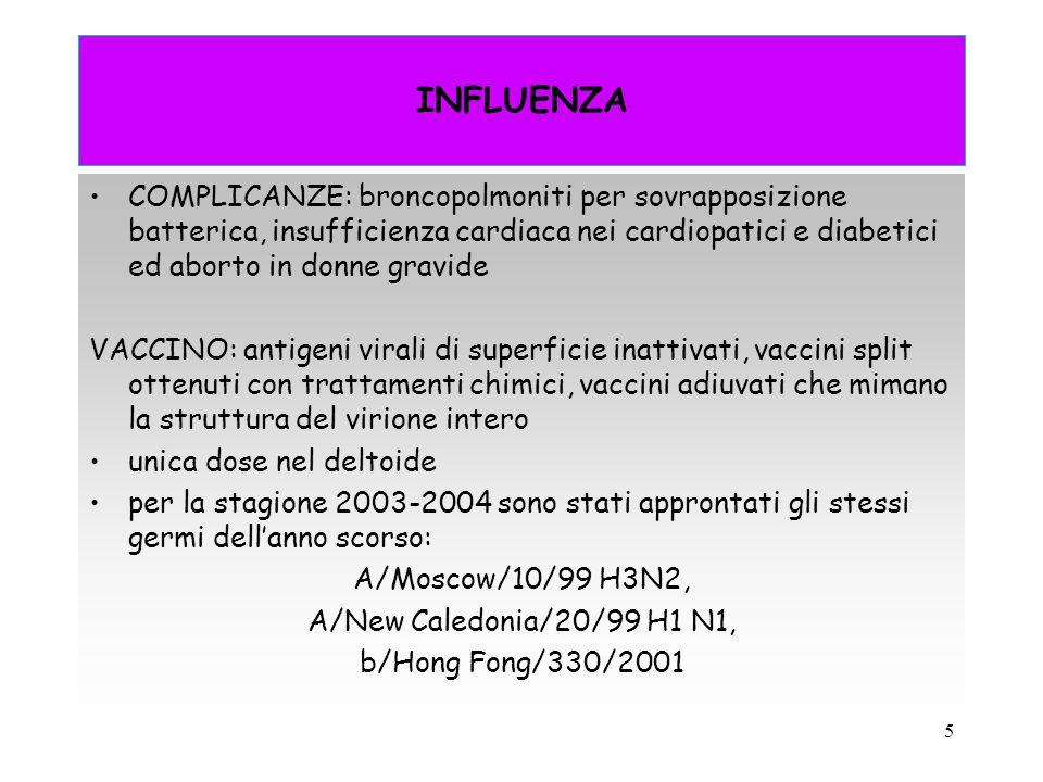 INFLUENZA COMPLICANZE: broncopolmoniti per sovrapposizione batterica, insufficienza cardiaca nei cardiopatici e diabetici ed aborto in donne gravide.