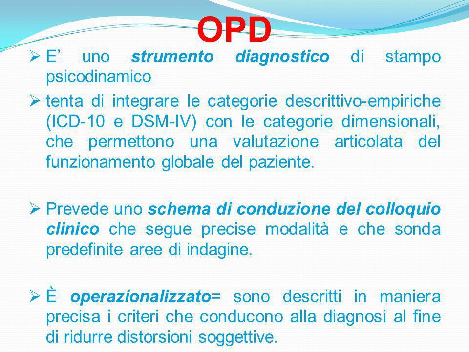 OPD E' uno strumento diagnostico di stampo psicodinamico