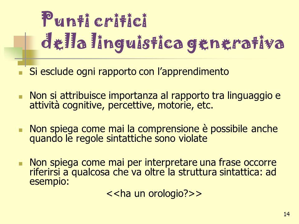Punti critici della linguistica generativa