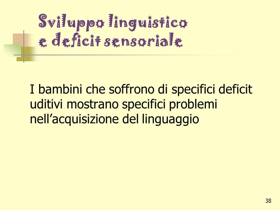 Sviluppo linguistico e deficit sensoriale