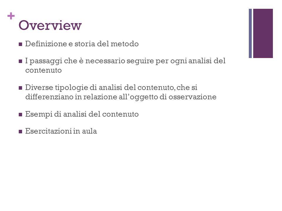 Overview Definizione e storia del metodo
