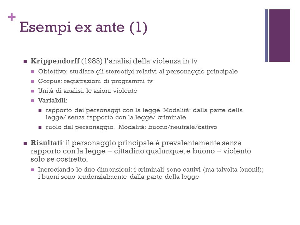 Esempi ex ante (1) Krippendorff (1983) l'analisi della violenza in tv