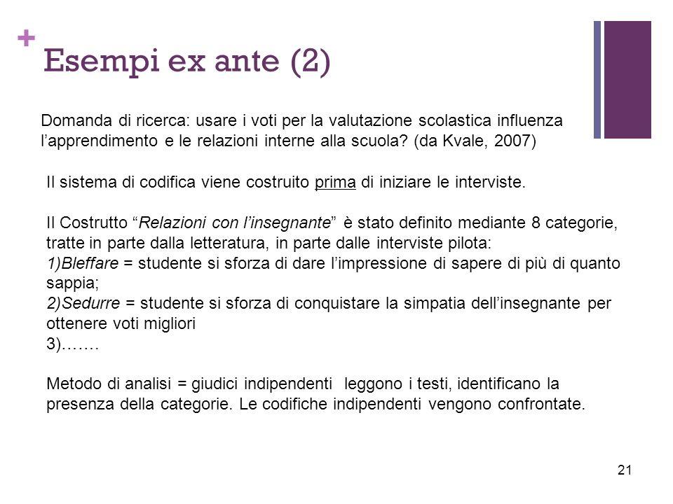 Esempi ex ante (2)