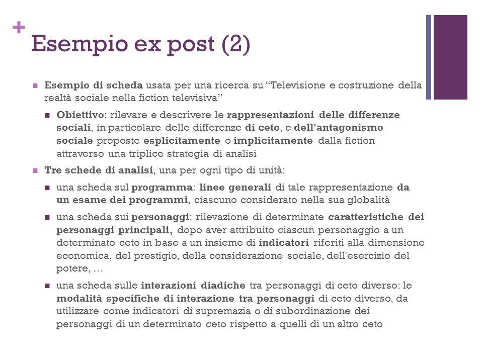 Esempio ex post (2) Esempio di scheda usata per una ricerca su Televisione e costruzione della realtà sociale nella fiction televisiva