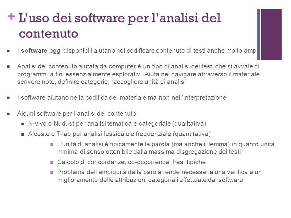 L'uso dei software per l'analisi del contenuto