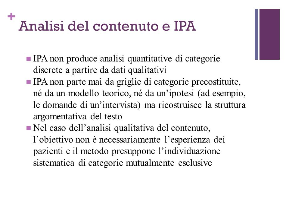 Analisi del contenuto e IPA