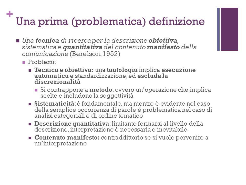 Una prima (problematica) definizione