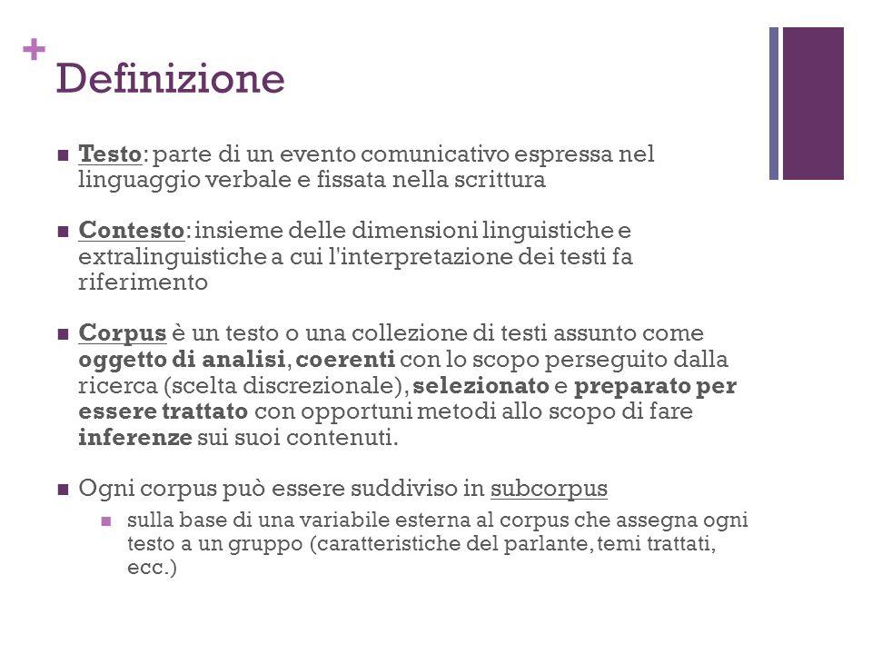 Definizione Testo: parte di un evento comunicativo espressa nel linguaggio verbale e fissata nella scrittura.