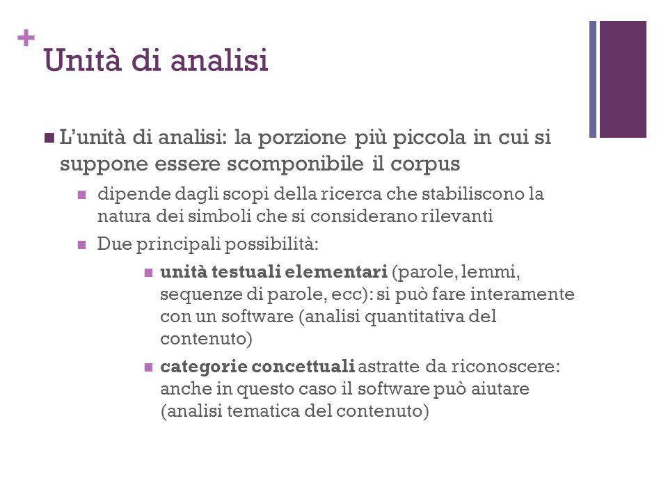 Unità di analisi L'unità di analisi: la porzione più piccola in cui si suppone essere scomponibile il corpus.