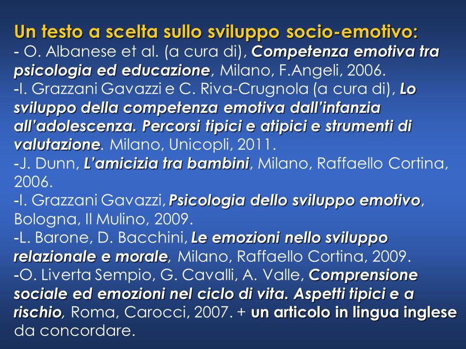 Un testo a scelta sullo sviluppo socio-emotivo: