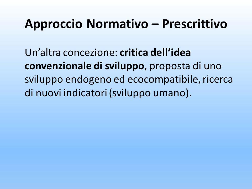 Approccio Normativo – Prescrittivo