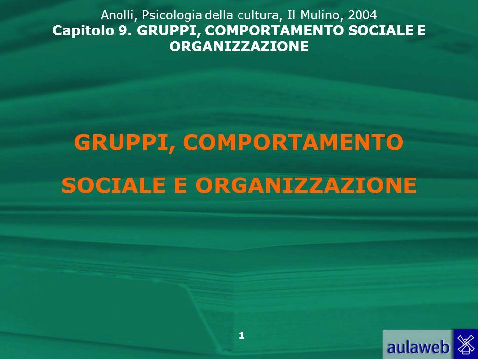 GRUPPI, COMPORTAMENTO SOCIALE E ORGANIZZAZIONE